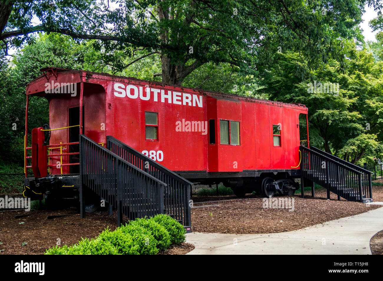 Old caboose at Pullen Park in Raleigh, NC - Stock Image