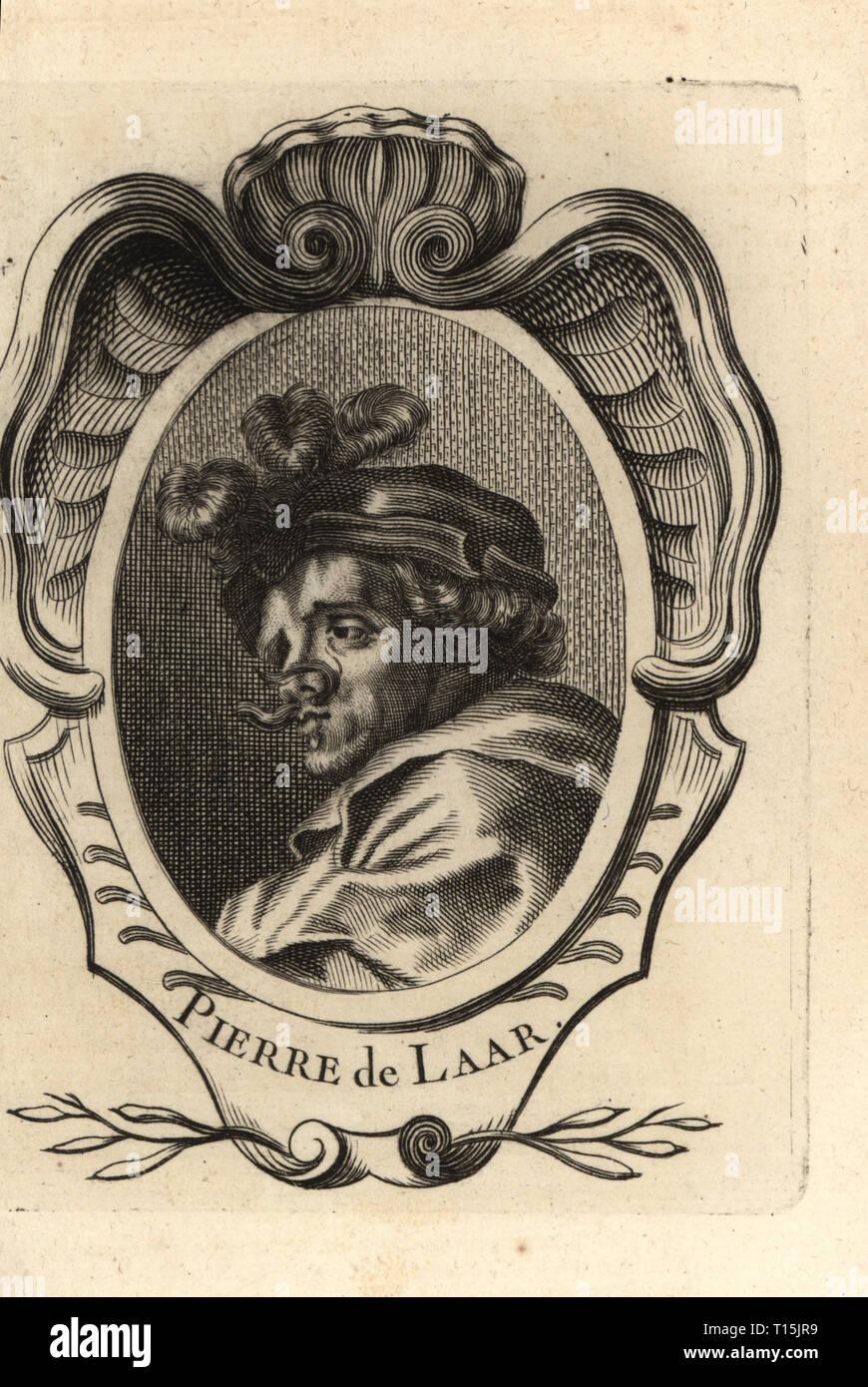 Portrait of Pieter van Laer, Il Bamboccio, Dutch painter and printmaker 1599-1642. Pierre de Laar. Copperplate engraving from Antoine-Joseph Dezallier d'Argenville's Abrege de la vie des plus fameux peintres, Lives of the most Famous Artists, de Bure l'Aine, Paris, 1762. - Stock Image