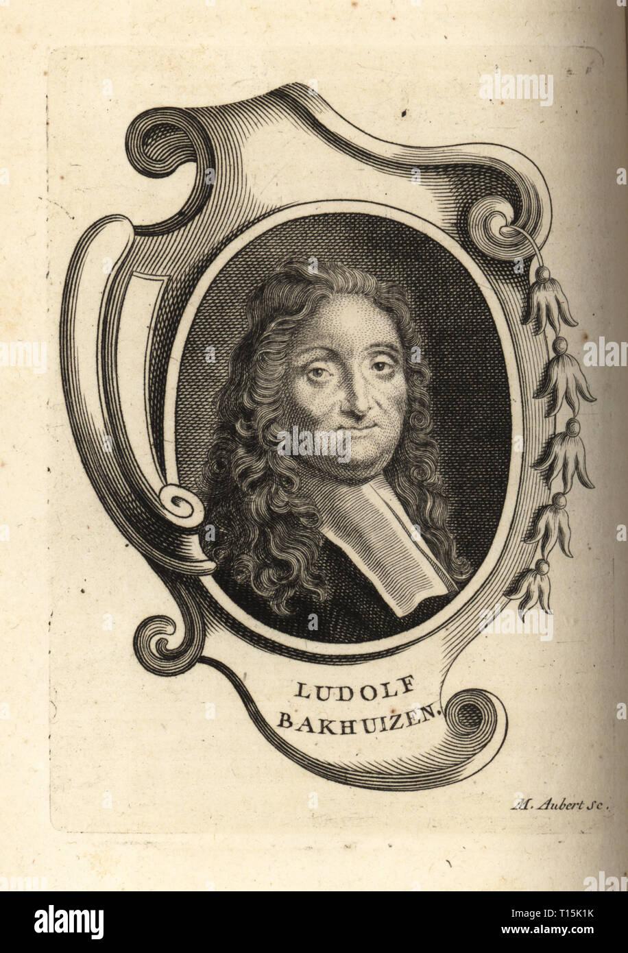 Portrait of Ludolf Bakhuizen, German-born Dutch painter, draughtsman, calligrapher and printmaker. Copperplate engraving by M. Aubert after a self portrait by Ludolf Bakhuizen from Antoine-Joseph Dezallier d'Argenville's Abrege de la vie des plus fameux peintres, Lives of the most Famous Artists, de Bure l'Aine, Paris, 1762. - Stock Image