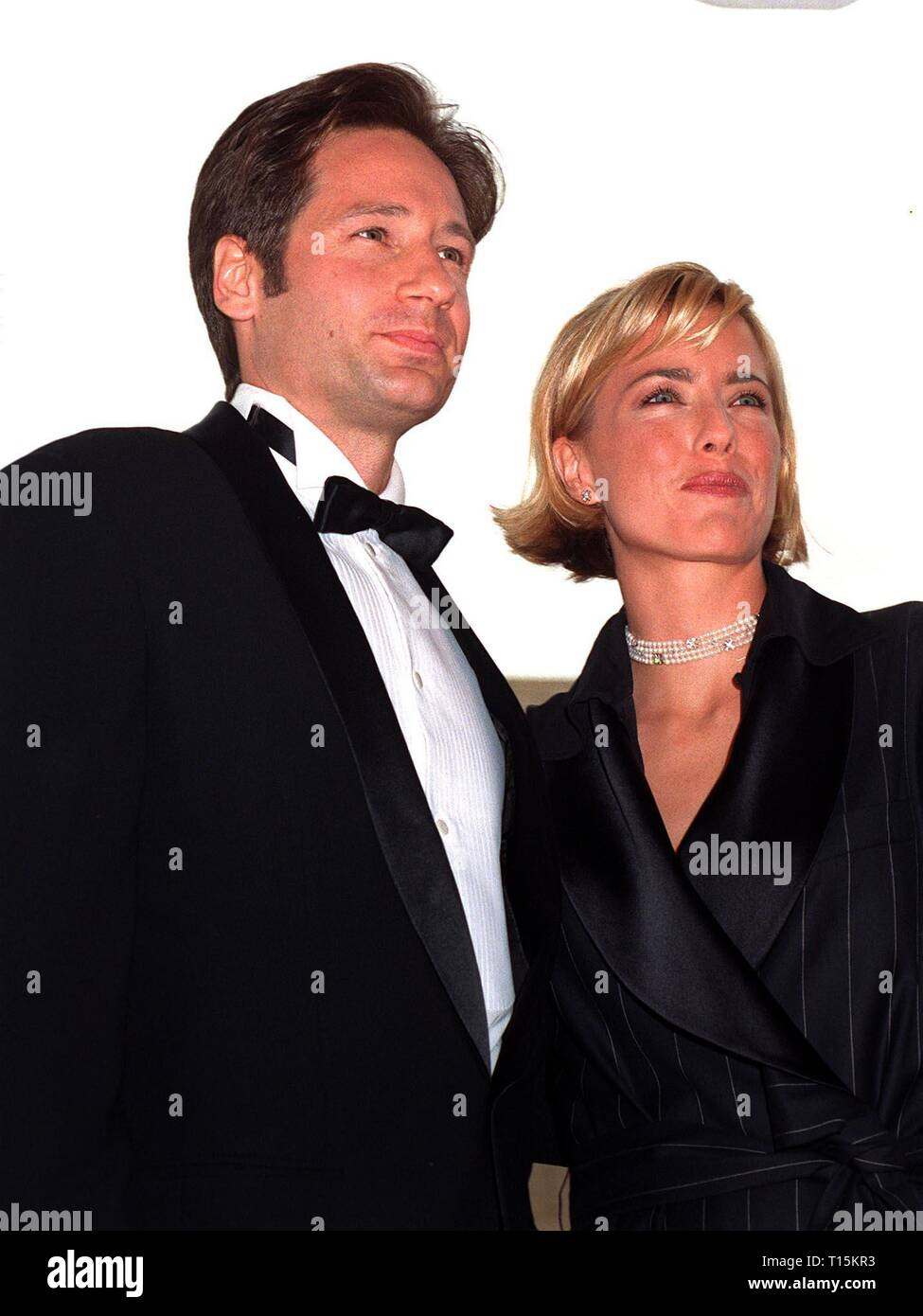 LOS ANGELES, CA. September 14, 1997: X-Files star David Duchovny & wife Tea Leoni at the Emmy Awards in Pasadena. - Stock Image