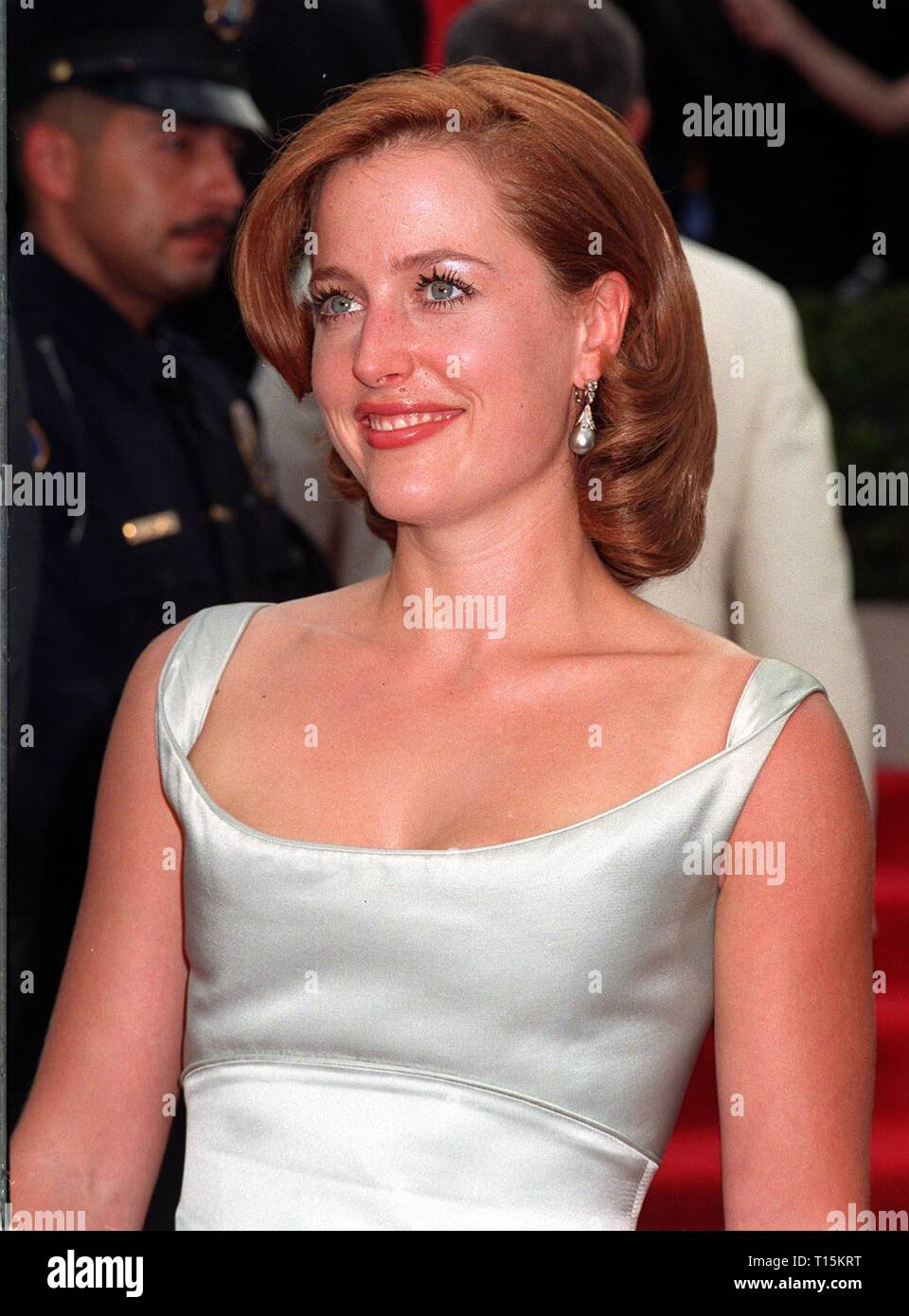 LOS ANGELES, CA. September 14, 1997: X-Files star Gillian Anderson at the Emmy Awards in Pasadena. - Stock Image