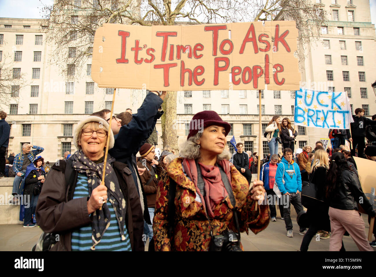 Hundreds of thousands of people from all corners of the UK and abroad rallied in Mayfair and marched to Parliament Square and WhiteHall.The protest against Brexit are calling for a Peoples Vote on the final deal. The march despite being said to be over a million people, was good natured and good humoroed. - Stock Image