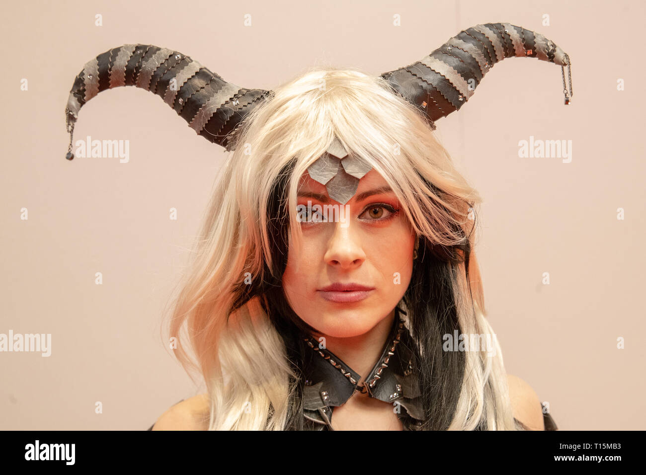 Birmingham, UK. Saturday 23 March 2019. Cosplayers seen in character on the 1st day of the MCM Comic Con Birmingham at the NEC  , © Jason Richardson / Alamy Live News - Stock Image