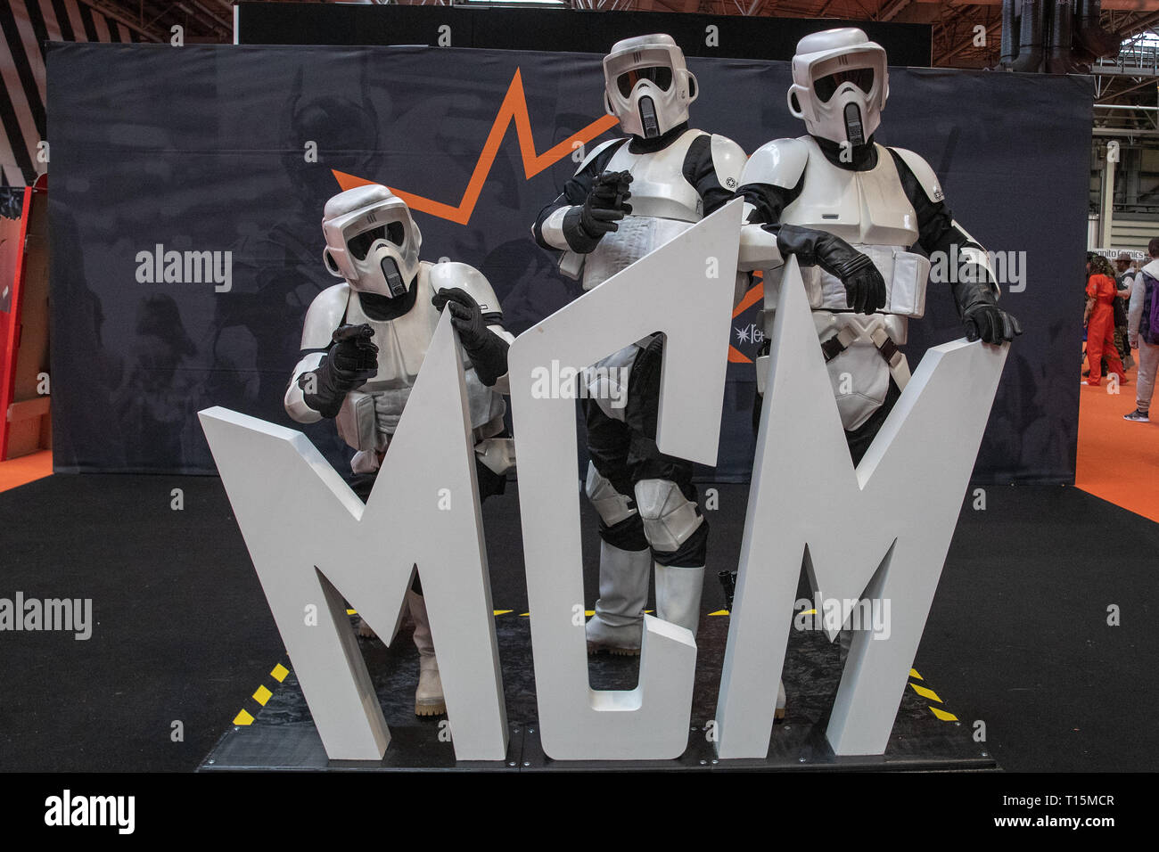 Birmingham, UK. Saturday 23 March 2019. Cosplayers seen in character as Stormtroopers on the 1st day of the MCM Comic Con Birmingham at the NEC  , © Jason Richardson / Alamy Live News - Stock Image