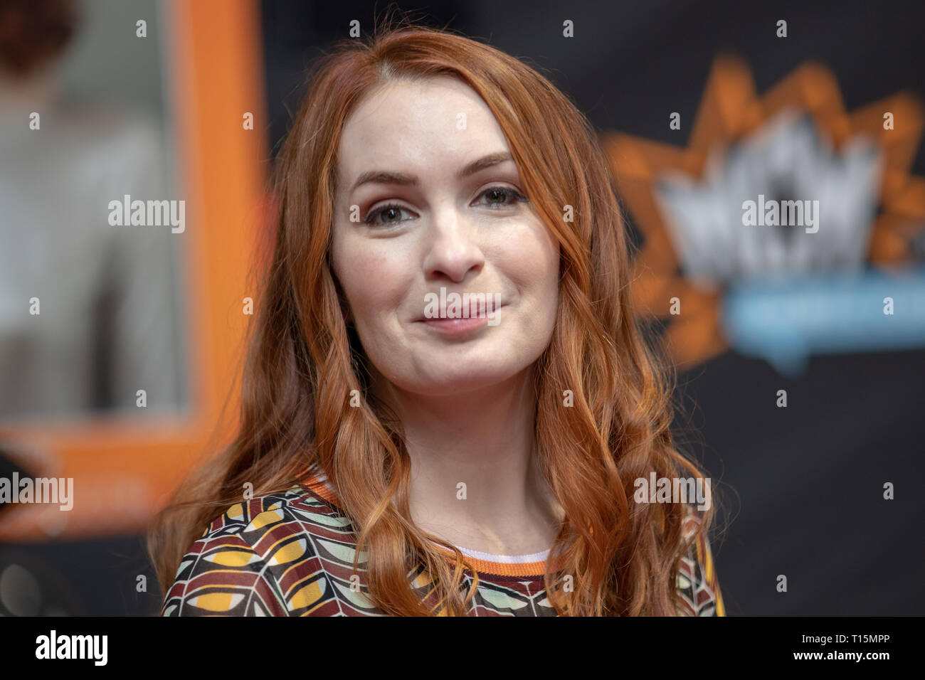 Birmingham, UK. Saturday 23 March 2019. Felicia Day during an autograph session  on the 1st day of the MCM Comic Con Birmingham at the NEC  , © Jason Richardson / Alamy Live News - Stock Image