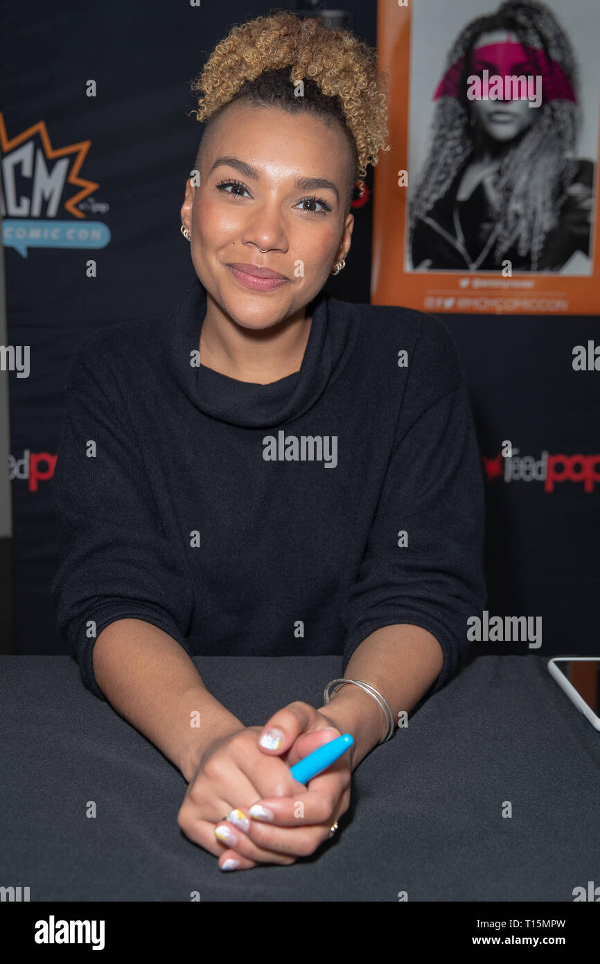 Birmingham, UK. Saturday 23 March 2019. Emmy Raver-Lampman during an autograph session  on the 1st day of the MCM Comic Con Birmingham at the NEC  , © Jason Richardson / Alamy Live News - Stock Image