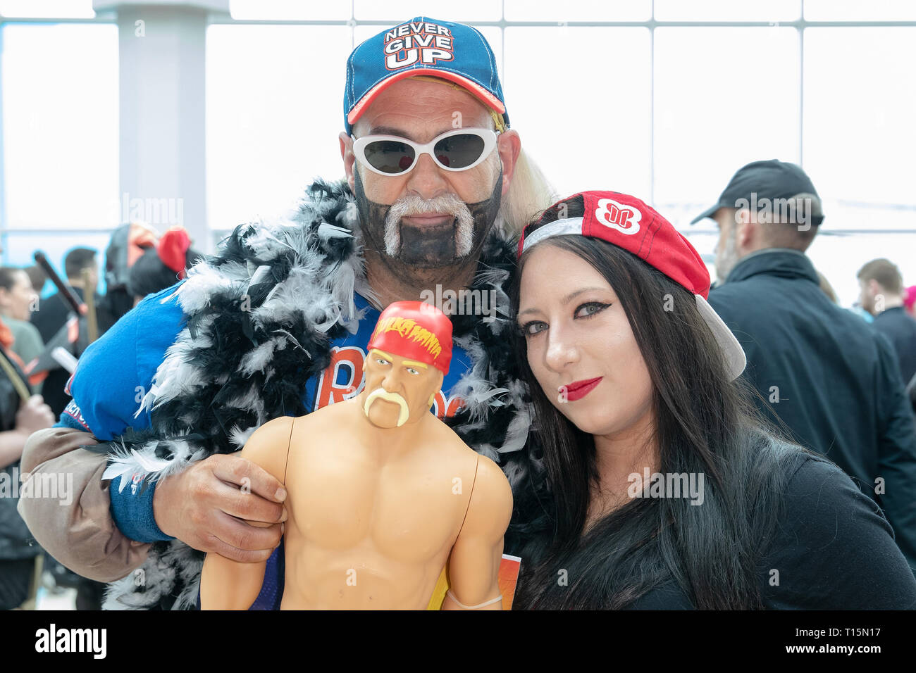 Birmingham, UK. Saturday 23 March 2019. Cosplayer seen in character  as Hulk Hogan on the 1st day of the MCM Comic Con Birmingham at the NEC  , © Jason Richardson / Alamy Live News - Stock Image