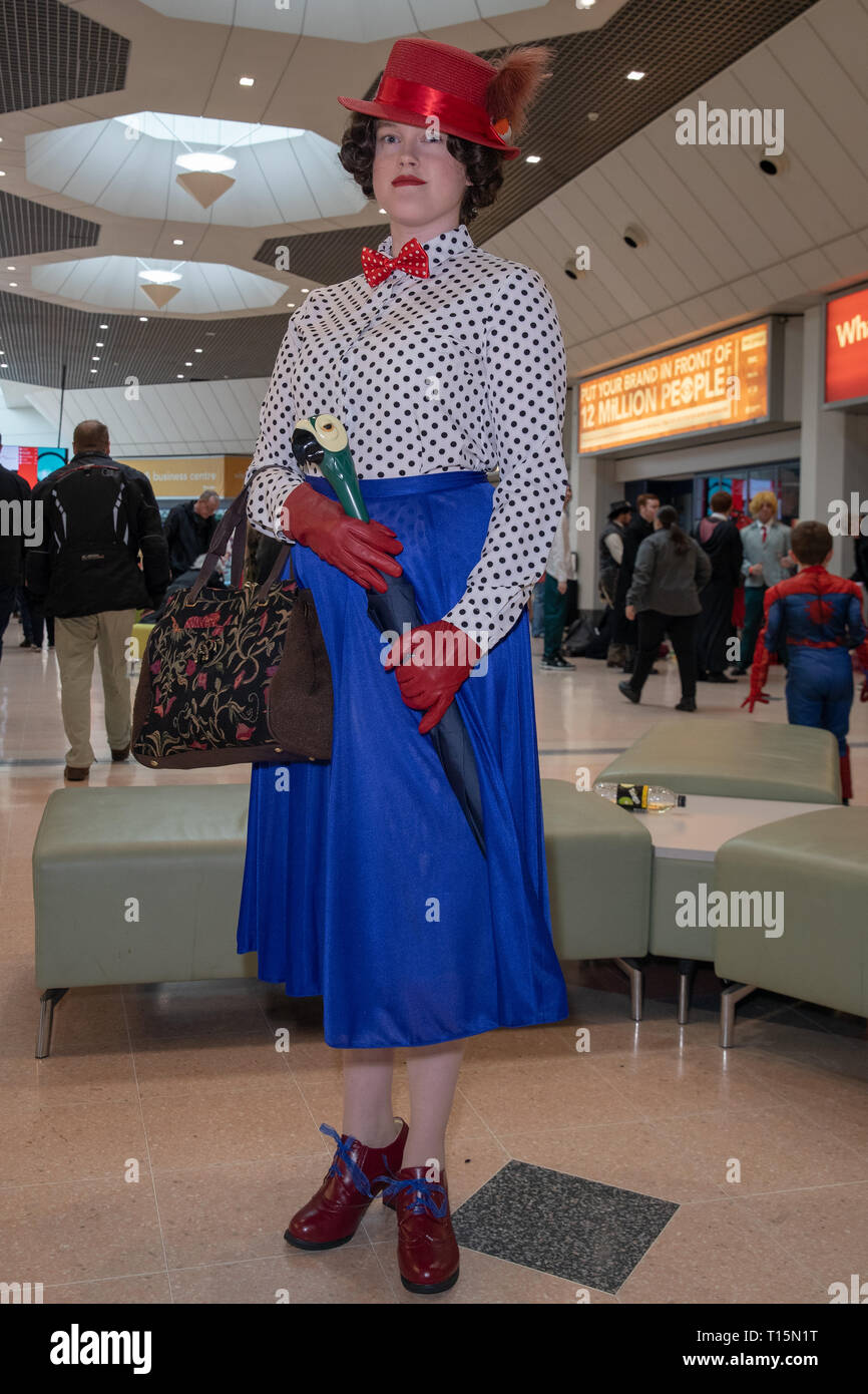 Birmingham, UK. Saturday 23 March 2019. Cosplayer seen in a Mary Poppins character on the 1st day of the MCM Comic Con Birmingham at the NEC  , © Jason Richardson / Alamy Live News - Stock Image