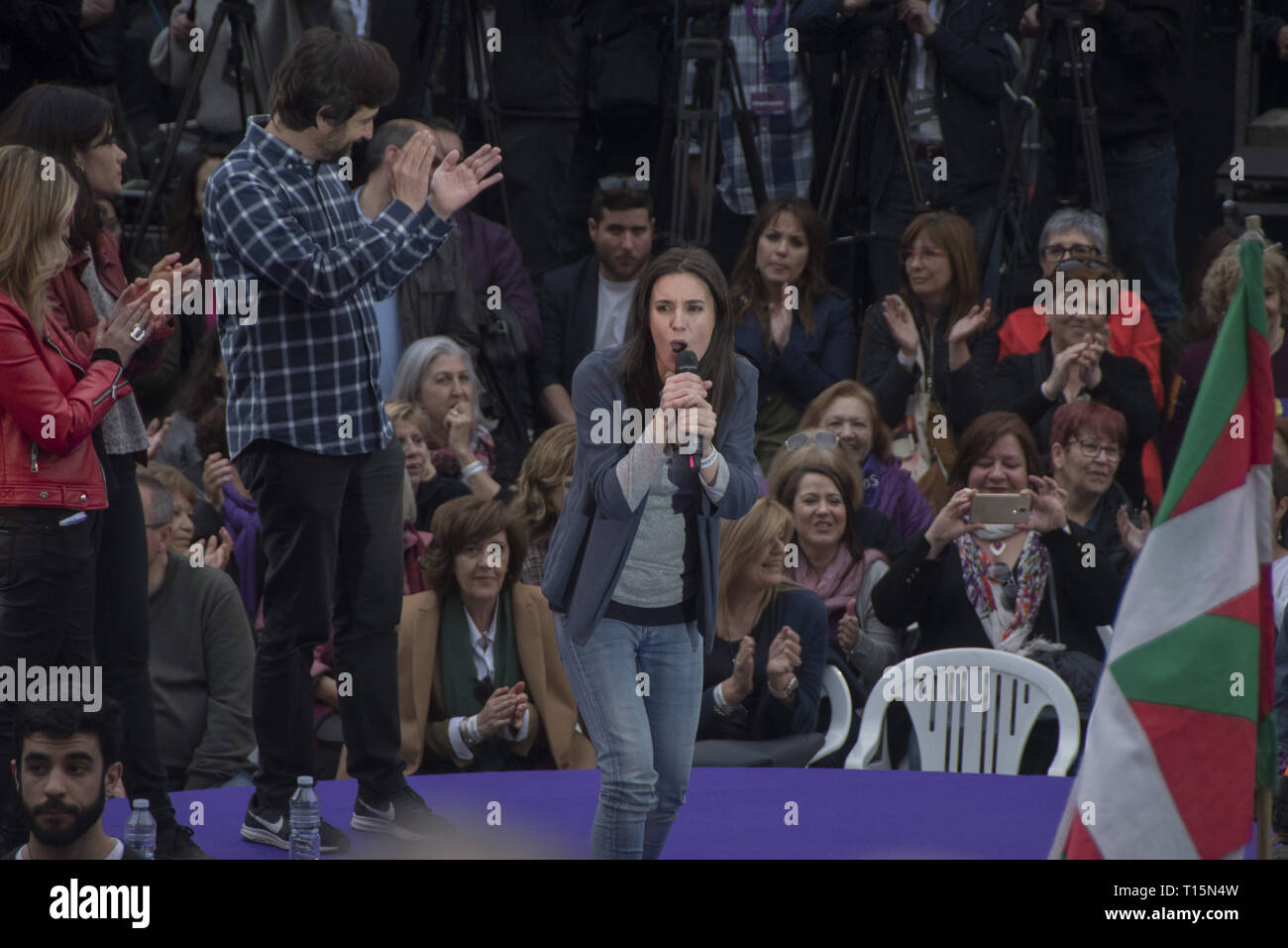 Madrid, Spain. 23rd Mar, 2019. Irene Montero second leader of Unidas Podemos seen giving a speech during the presentation.The left party presentation of the return of paternity permission of Pablo Iglesias at the square attached to the reina sofia de Madrid museum. Pablo Iglesias reappears in the public scene to enjoy the paternity leave. Credit: Alberto Sibaja/SOPA Images/ZUMA Wire/Alamy Live News - Stock Image