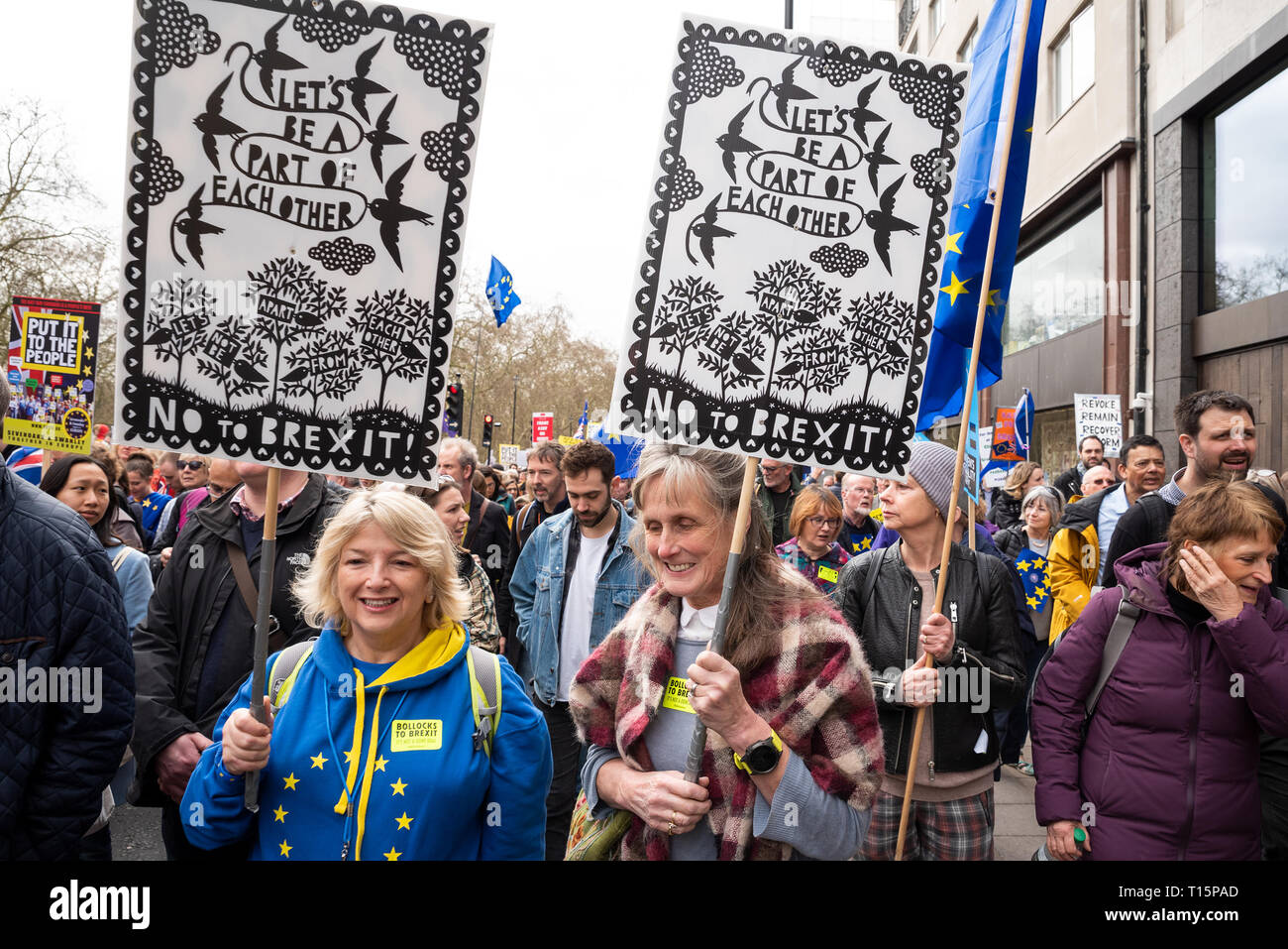 London, UK. March 23rd 2019. Put it to the People March. The Peoples Vote March formed up in Park Lane to march to Parliament Square. Up to a million protesters were  expected to march through central London demanding a Peoples Vote on any Brexit deal. Pictured, marchers in Piccadilly en route to Parliament Square. Credit: Stephen Bell/Alamy Live News - Stock Image