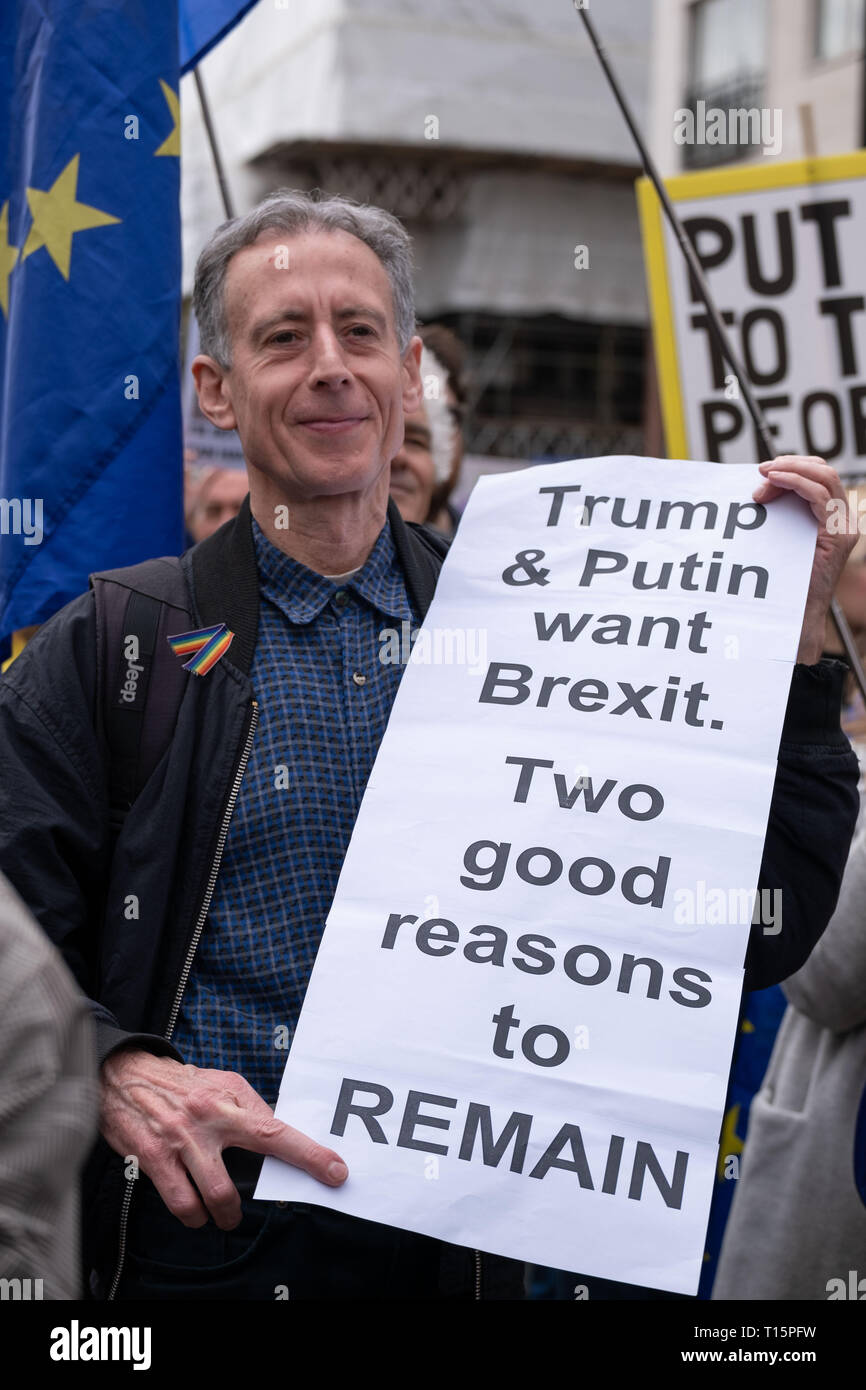 London, UK. 23rd Mar, 2019. Peter Tatchell, veteran gay rights campaigner, protesting at Peoples Vote March, London. 23 March 2019 Credit: Chris Moos/Alamy Live News - Stock Image