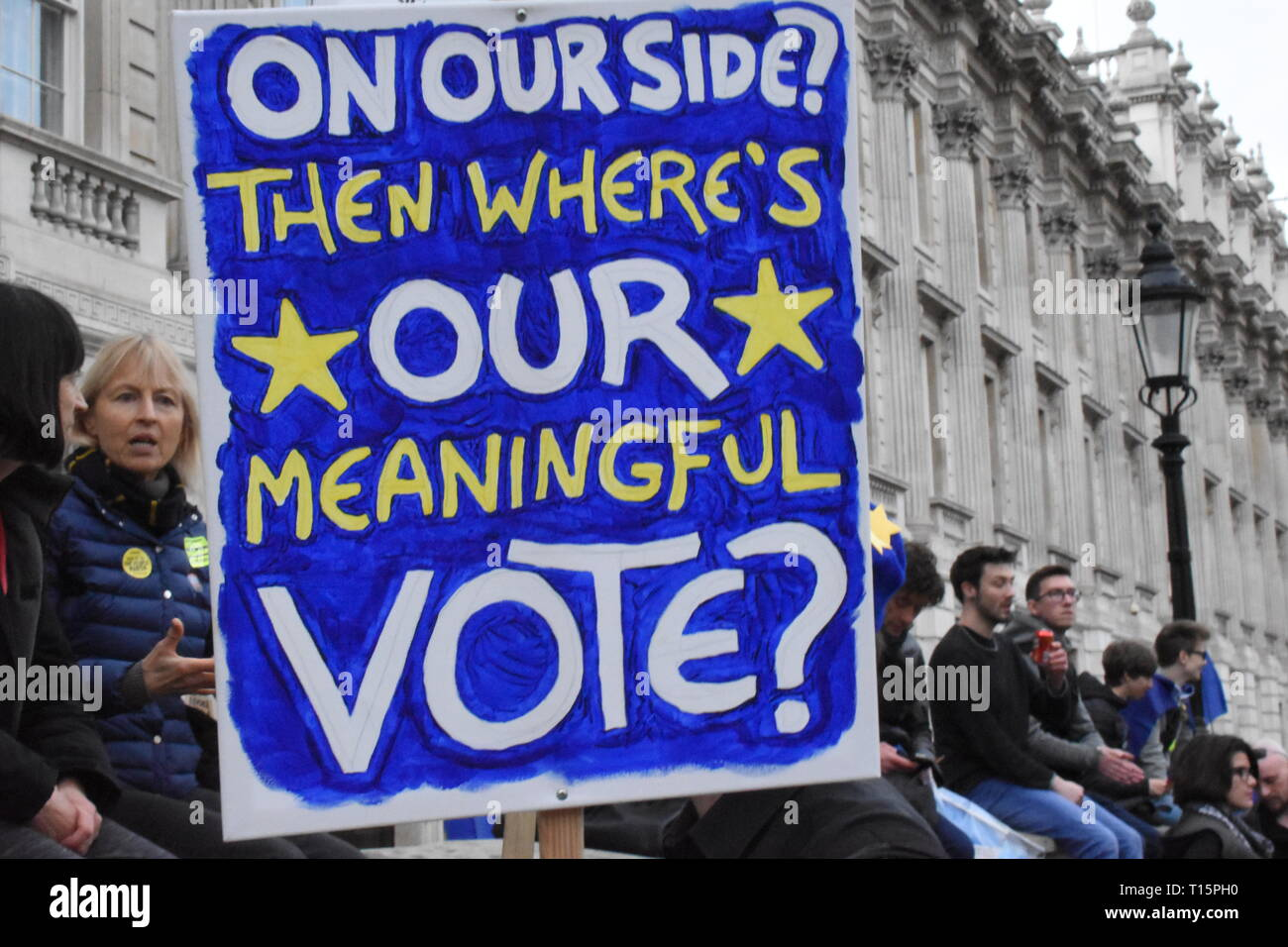 London, UK. 23rd Mar, 2019. Banner waved above the heads of the crowd, people demonstrate against leaving the EU, they want a peoples' vote, and revoking of article 50 Credit: Katherine Da Silva Credit: Katherine Da Silva/Alamy Live News Stock Photo