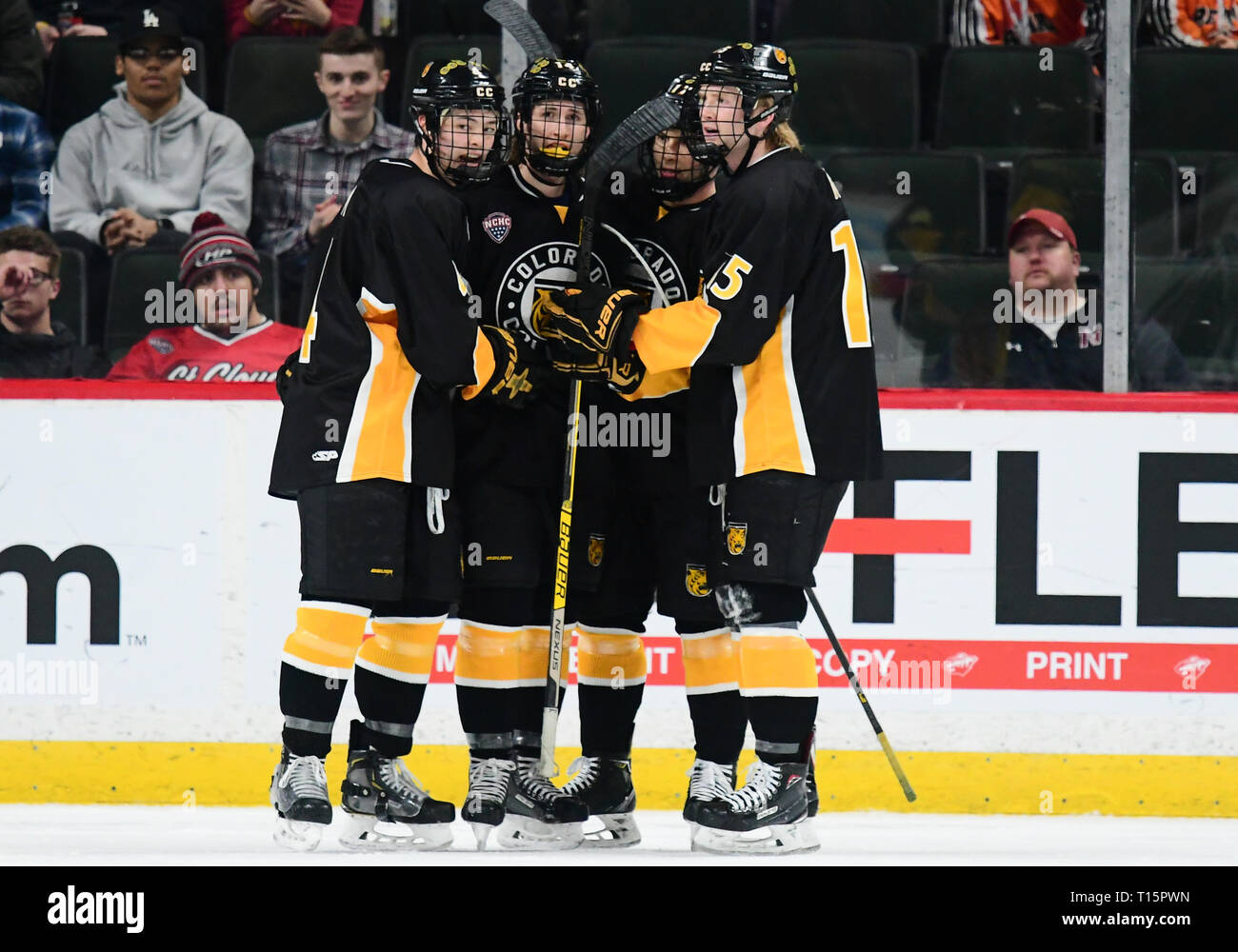 March 23, 2019 Colorado College players celebrate after scoring a goal in the first period of the NCHC Frozen Faceoff third place game between the Colorado College Tigers and the Denver Pioneers at the Xcel Energy Center, St. Paul, MN. Photo by Russell Hons/CSM - Stock Image