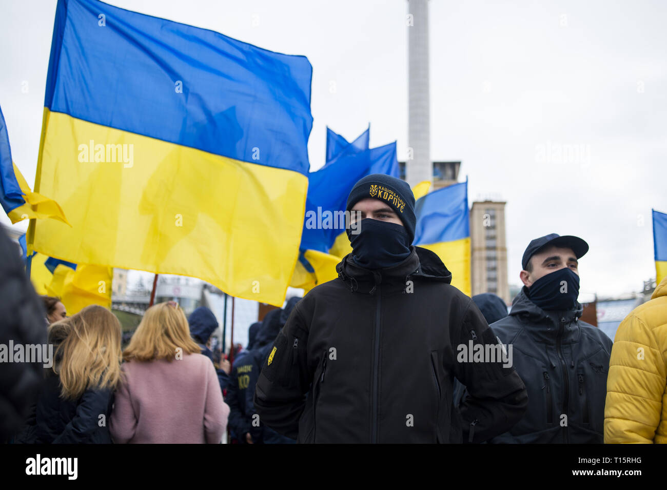 Kyiv, Kyiv Oblast, Ukraine. 23rd Mar, 2019. Protesters seen lined up in Maidan Square to march to the Presidential Administration Building during the demonstration. Protesters gathered in Maidan Square then marched to the Presidential Administration building to call on President Petro Poroshenko to bring corrupt governmental officials to justice. With the Ukrainian Elections being held at the end of March the political tensions run very high. Credit: Matthew Hatcher/SOPA Images/ZUMA Wire/Alamy Live News Stock Photo