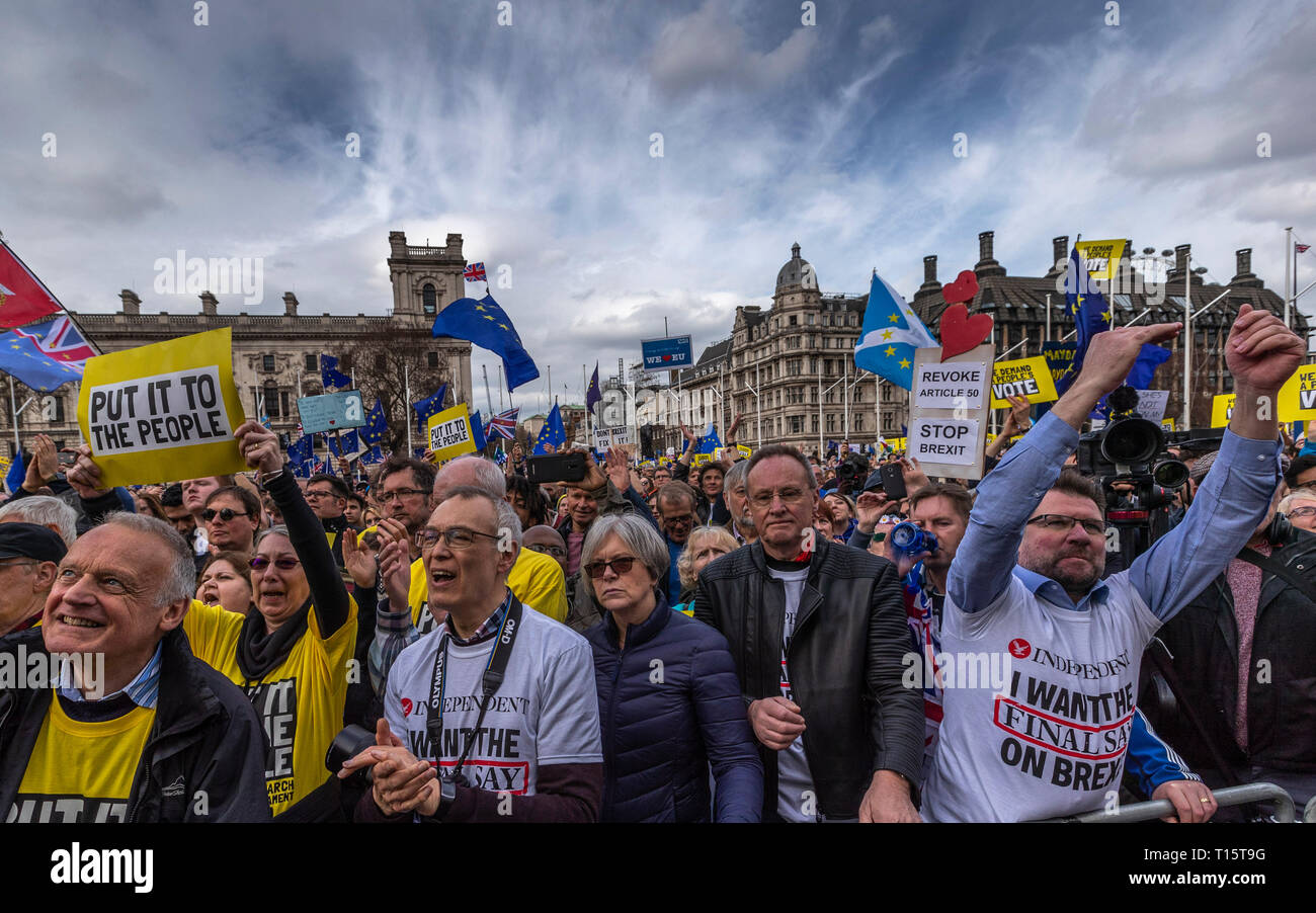 """London, UK. 23rd Mar, 2019. Demonstrators protest during the """"Put it to the People"""" march in central London, UK, on March 23, 2019. Hundreds of thousands of people on Saturday marched through central London calling for another referendum on Brexit as the country is caught by the Brexit impasse again. Credit: Han Yan/Xinhua/Alamy Live News Stock Photo"""