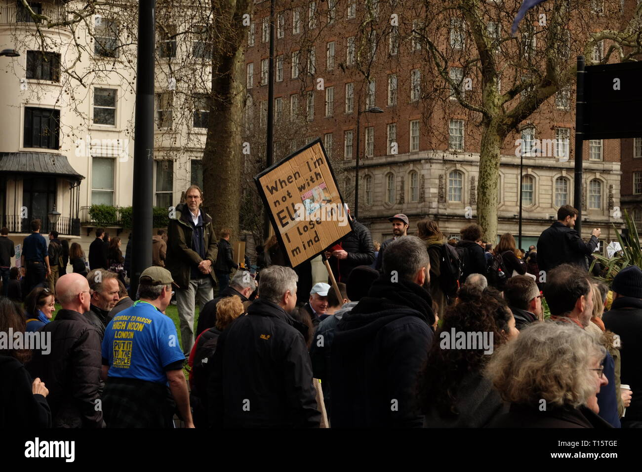 London, UK. 23rd Mar 2019. Remain supporters gathered in London and marched to Parliament Square demanding a second referendum on the issue of Brexit. The march was organized under the banner of People's Vote. Credit: Angus MacKinnon/Alamy Live News Stock Photo