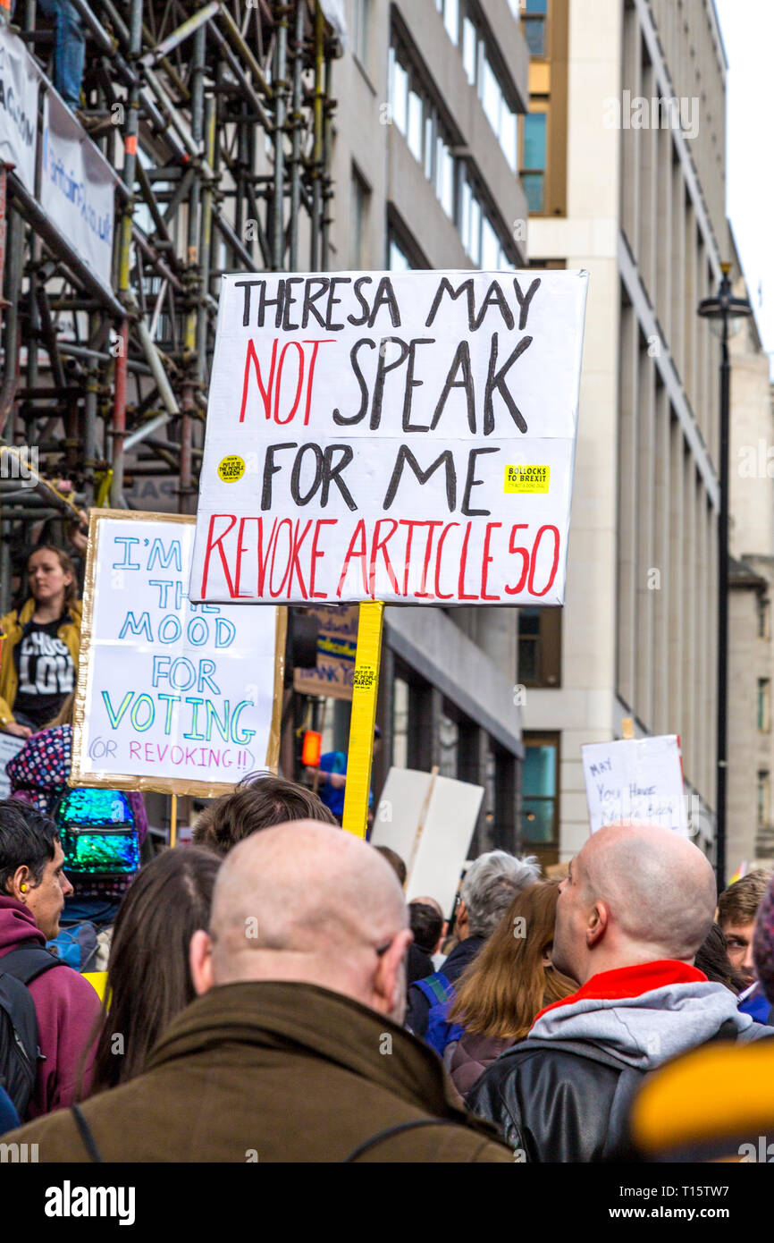 London, UK. 23rd Mar 2019.  Over a million people march for the People's Vote, for a second referendum on Brexit, sign saying 'Theresa May not speak for me, revoke article 50' Credit: Nathaniel Noir/Alamy Live News Stock Photo
