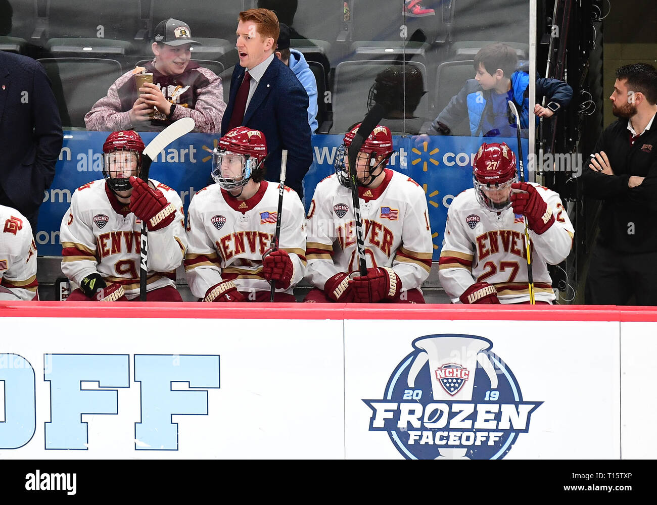 March 23, 2019 Denver head coach David Carle watches play during the NCHC Frozen Faceoff third place game between the Colorado College Tigers and the Denver Pioneers at the Xcel Energy Center, St. Paul, MN. Denver defeated Colorado College 6-1. Photo by Russell Hons/CSM - Stock Image