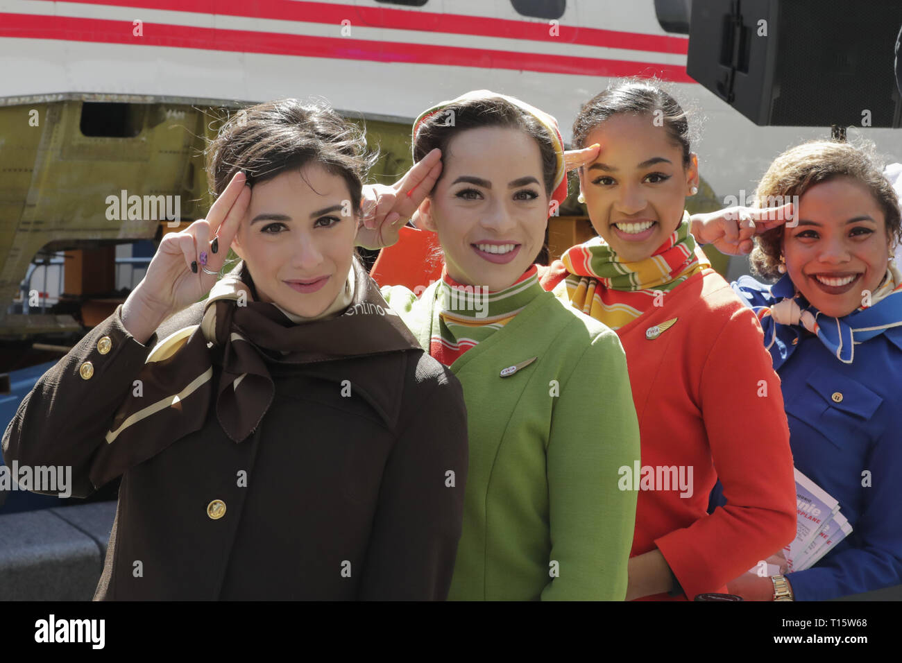 New York, NY, USA. 23rd Mar, 2019. Times Square, New York, USA, March 23, 2019 - Actors dressed as pilots, flight attendants and mechanics from the 1960s and 70s helps celebrate the TWA Hotel Project, including the restoration of the 1958 Lockheed Constellation plane Connie today in Times Square, Manhattan.Photo: Luiz Rampelotto/EuropaNewswire Credit: Luiz Rampelotto/ZUMA Wire/Alamy Live News - Stock Image