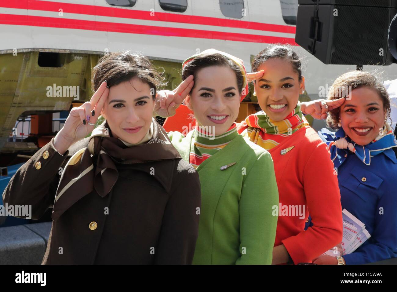 Times Square, New York, USA, March 23, 2019 - Actors dressed as pilots, flight attendants and mechanics from the 1960s and 70s helps celebrate the TWA Hotel Project, including the restoration of the 1958 Lockheed Constellation plane Connie today in Times Square, Manhattan Photo: Luiz Rampelotto/EuropaNewswire | usage worldwide - Stock Image