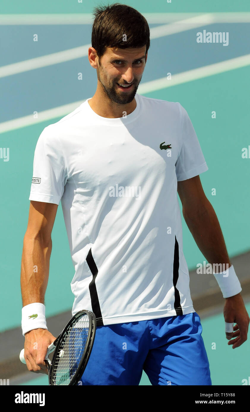 Miami, USA. 21st Mar, 2019.  Novak Djokovic of Serbia plays on a practice court at the Hard Rock Stadium at the Miami Open on March 21, 2019 in Miami Gardens, Florida. (Paul Hennessy/Alamy) Credit: Paul Hennessy/Alamy Live News - Stock Image