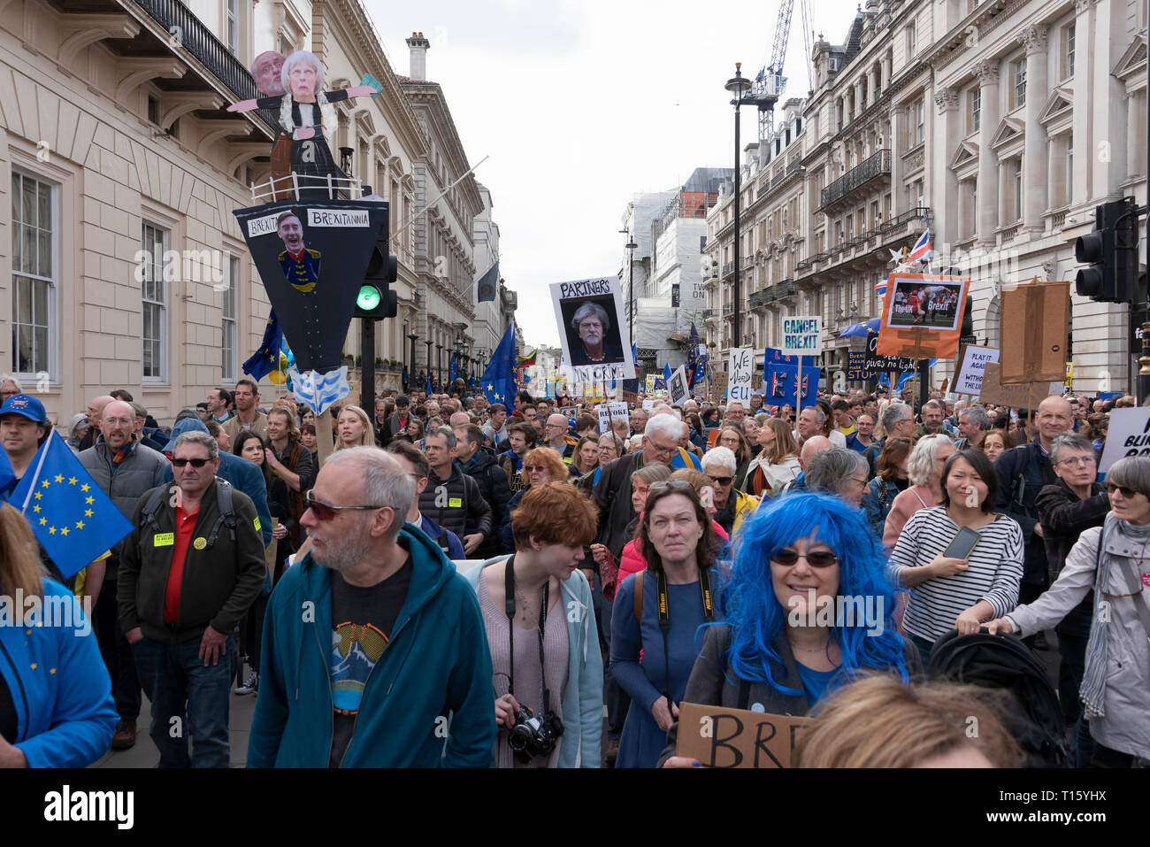 London, UK. 23rd Mar, 2019. Peoples Vote March,. Crowd detail and banners as taken from the perspective of a protester. Remain banners, second referendum. Credit: Tony Pincham/Alamy Live News - Stock Image