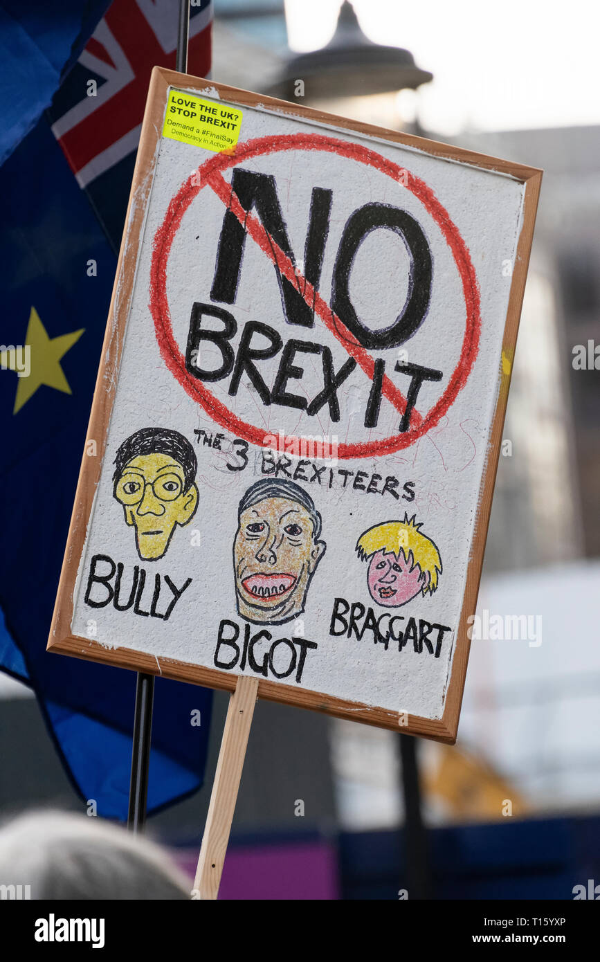 London, UK. 23rd Mar, 2019. Peoples Vote March, No Brexit banner. From the perspective of a protester. Remain banners, second referendum. Credit: Tony Pincham/Alamy Live News - Stock Image
