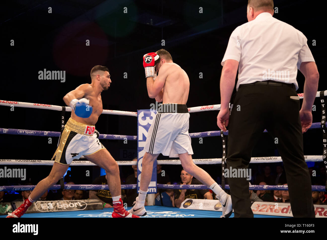 Leicester, UK. 23rd Mar, 2019.  The Morningside Arena Leicester International Light Heavyweight fight between Tommy Fury and Maksims Ogurcovs  People in Picture Credit: Dean Fardell/Alamy Live News - Stock Image