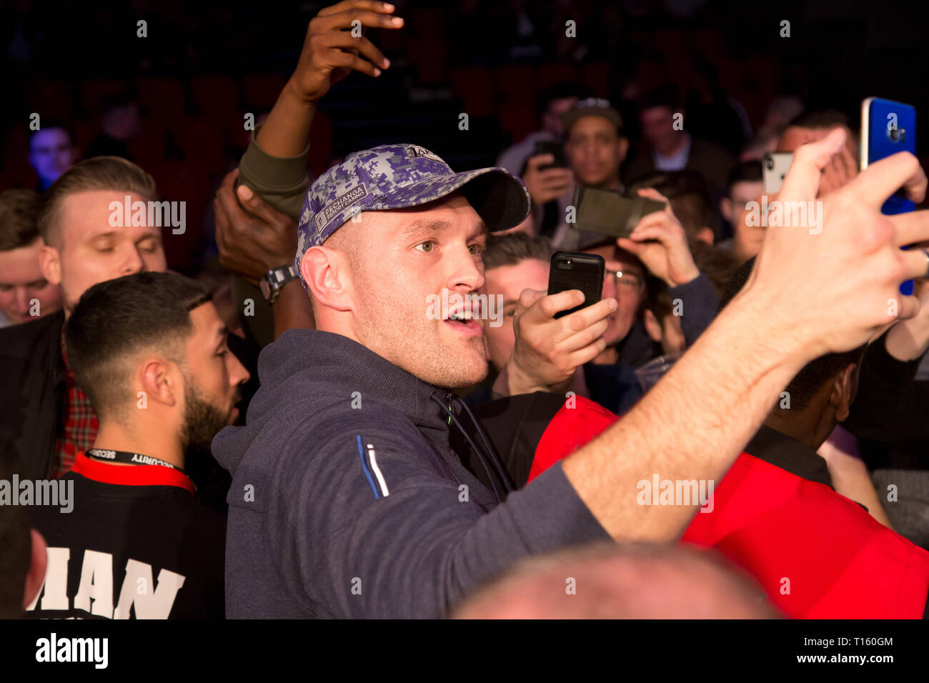 Leicester, UK. 23rd Mar, 2019.  The Morningside Arena Leicester Heavyweight Boxer Tyson Fury Takes Selfie photos with the crowd at the morningside arena  People in Picture Tyson Fury Credit: Dean Fardell/Alamy Live News - Stock Image