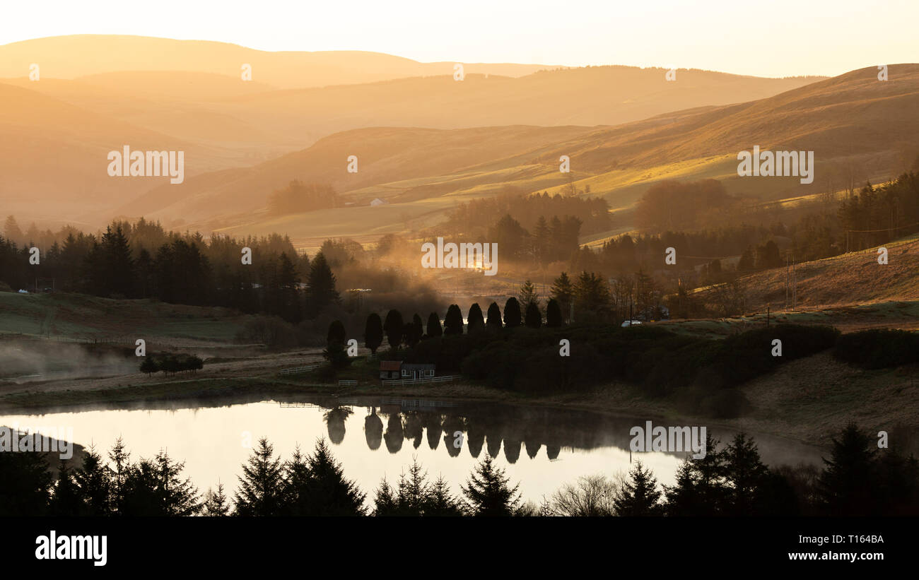 Bwlch Nant Y Arian, Ceredigion, Wales, UK. 24th March 2019  UK Weather: Clear skies with a touch of frost as the sun rises over Bwlch Nant Y Arian near Ponterwyd, on this lovely spring morning. © Ian Jones/Alamy Live News Stock Photo