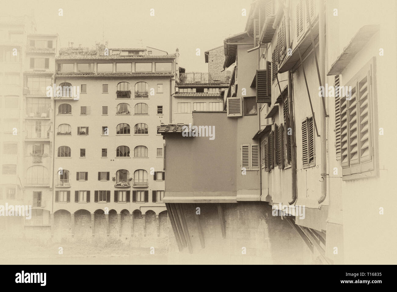 The Ponte Vecchio, a medieval stone closed-spandrel