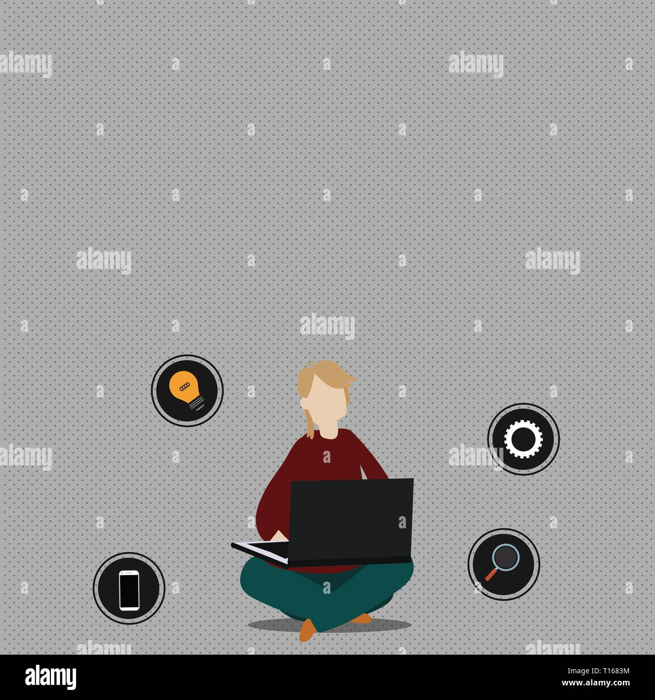 Woman Sitting Crossed Legs on Floor Browsing the Laptop with Technical Icons Business Empty template for Layout for invitation greeting card promotion - Stock Vector