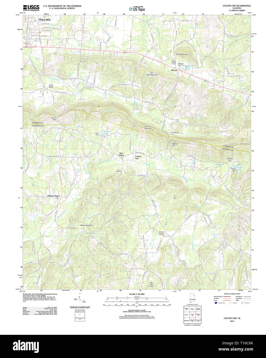 USGS TOPO Map Alabama AL Colvin Gap 20110923 TM - Stock Image