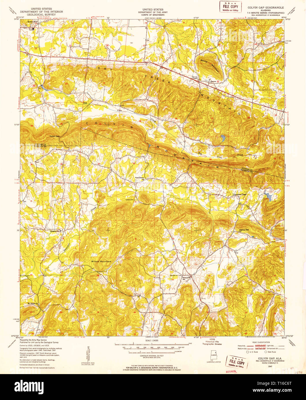 USGS TOPO Map Alabama AL Colvin Gap 303569 1947 24000 - Stock Image