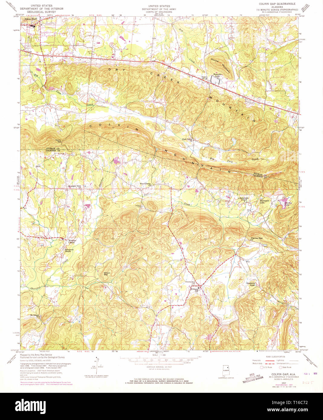 USGS TOPO Map Alabama AL Colvin Gap 303571 1957 24000 - Stock Image