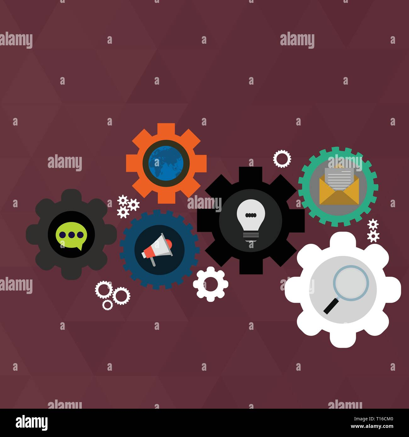 Set Of Global Online Social Networking Icons Inside Colorful