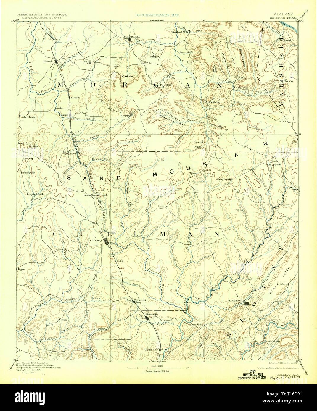USGS TOPO Map Alabama AL Cullman 305826 1892 125000 Stock ...