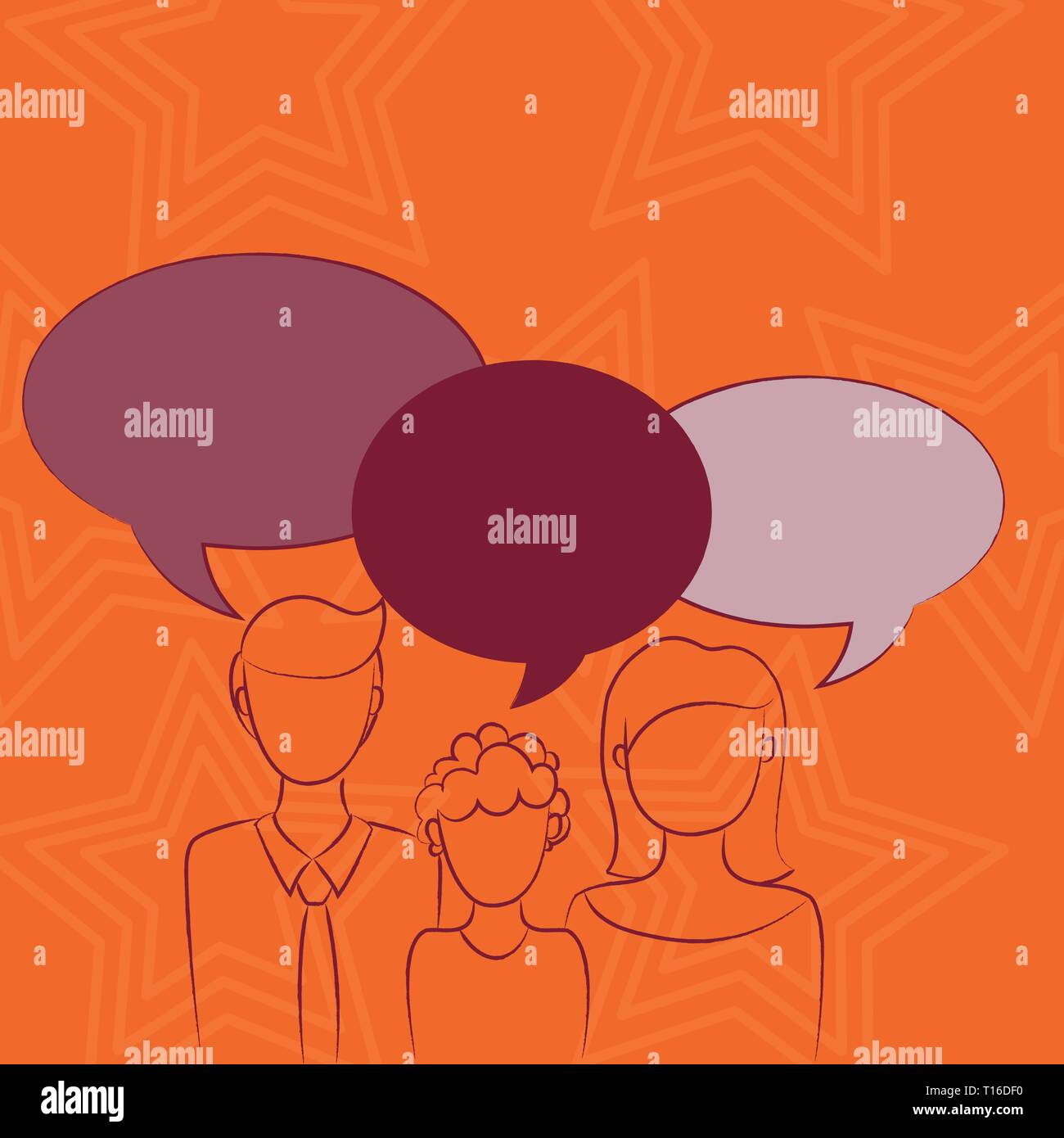 Family of One Child Between Father and Mother and Their Own Speech Bubble Design business concept Empty copy text for Web banners promotional material - Stock Vector
