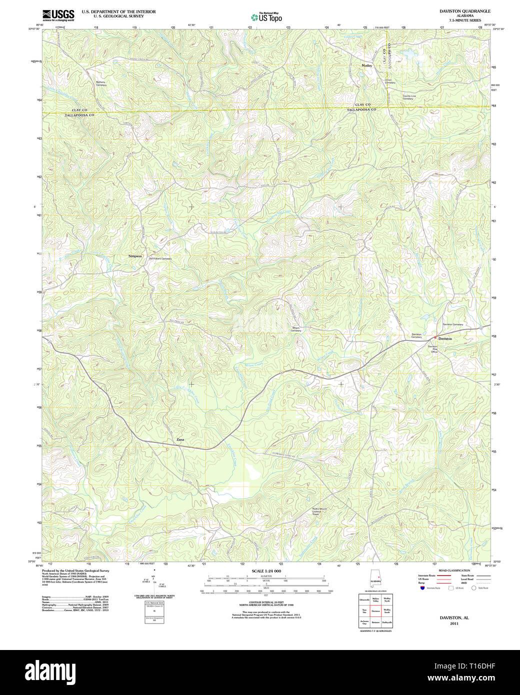 USGS TOPO Map Alabama AL Daviston 20111206 TM Stock Photo