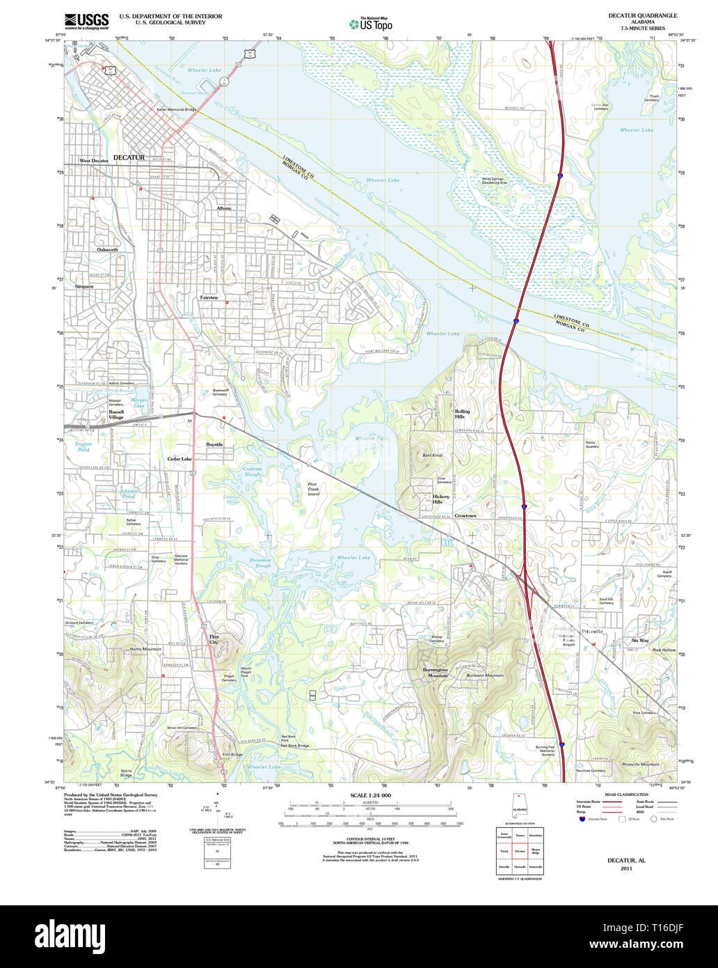 USGS TOPO Map Alabama AL Decatur 20110921 TM Stock Photo ...