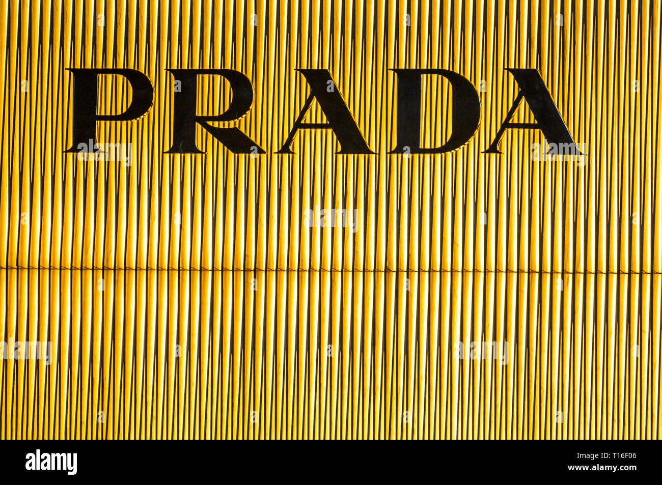 Bejing China 23.02.2019 - Prada store logo Luxury shopping center in the heart of the city Stock Photo