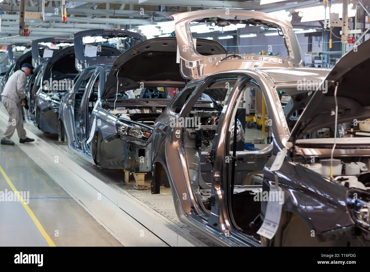 Russia, Izhevsk - December 15, 2018: LADA Automobile Plant Izhevsk, part of the AVTOVAZ Group. Assembly new cars on the conveyor line. Stock Photo