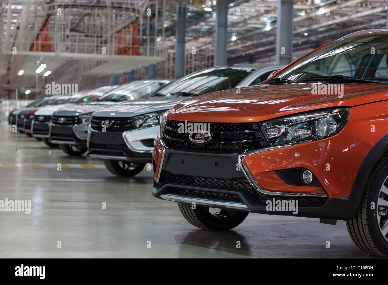 Russia, Izhevsk - December 15, 2018: LADA Automobile Plant Izhevsk, part of the AVTOVAZ Group. New modern cars Lada Vesta ready for sale. Stock Photo