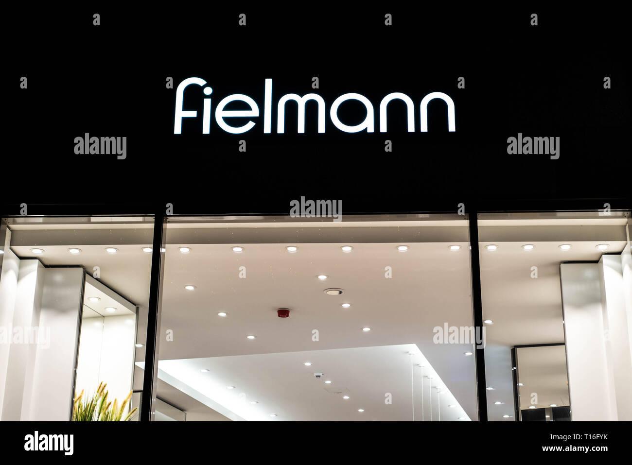 Bonn, Germany 17.12.2017 - Fielmann shop signage logo - Fielmann AG is a German optics company focusing on retail eyewear - Stock Image