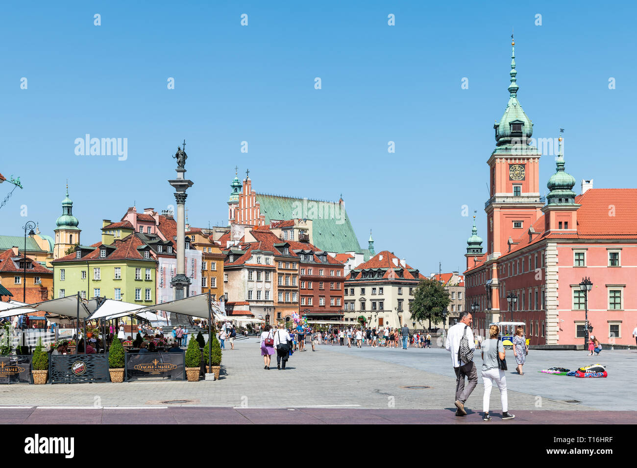 Warsaw, Poland - August 23, 2018: Famous old town historic