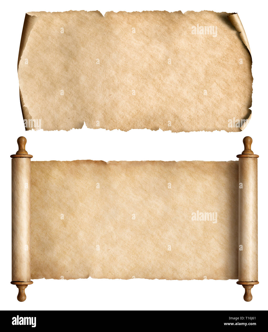 Vintage paper or parchment scrolls set isolated on white - Stock Image
