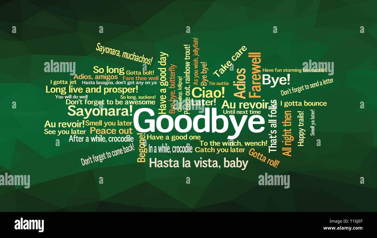 How to say GOODBYE in different way and languages, words collage vector illustration - Stock Image