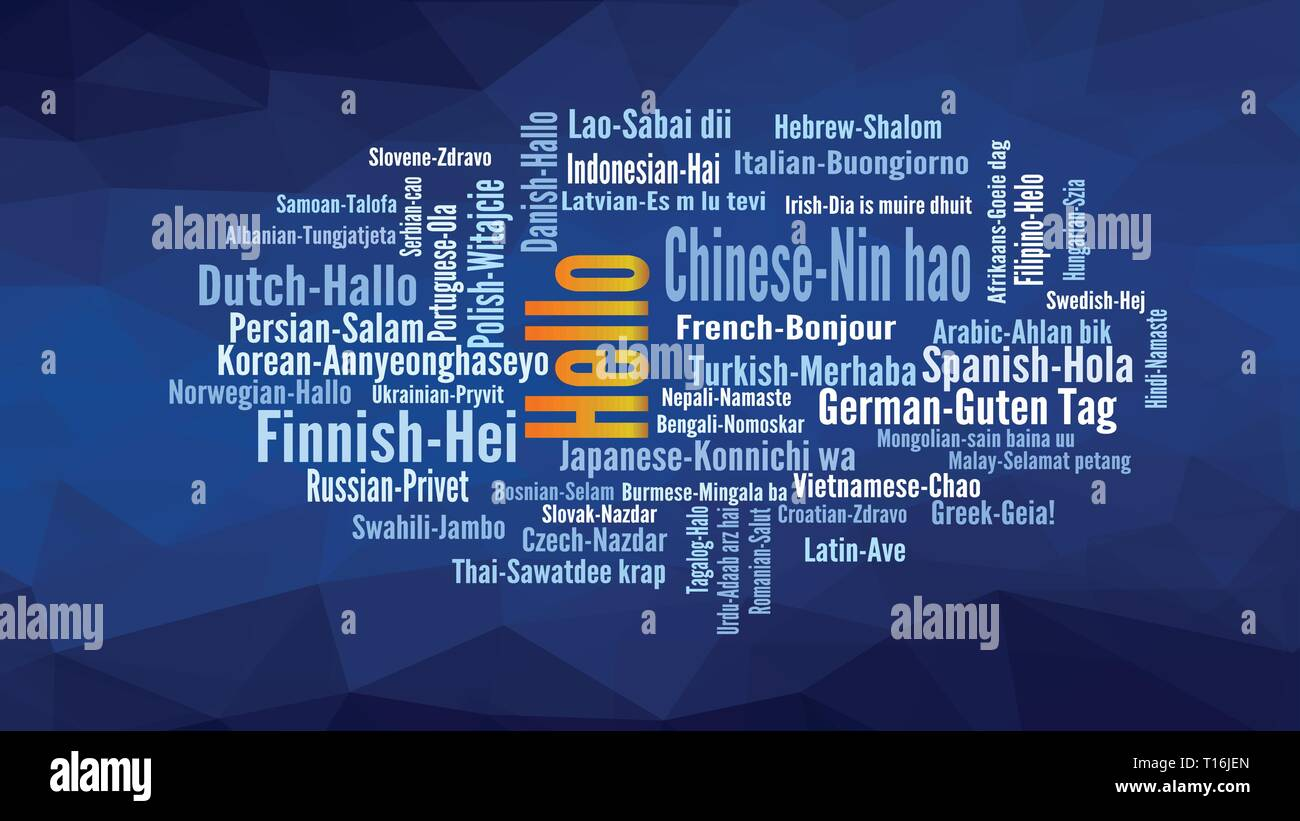 Hello word Cloud, shows equivalents of 'hello', how to say it in many languages, vector ESP10 - Stock Image