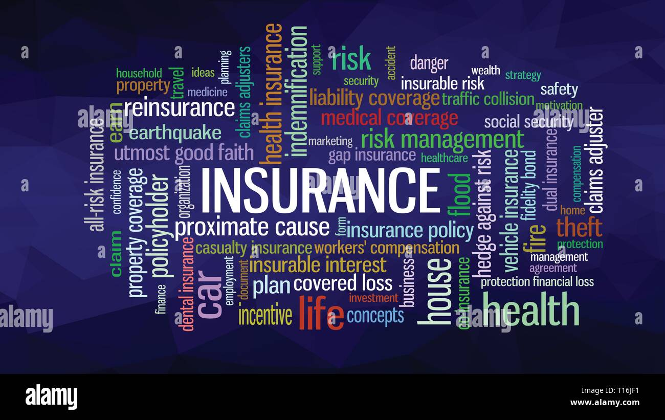 Insurance Word Cloud concept illustration, show words related to risk management business - Stock Vector