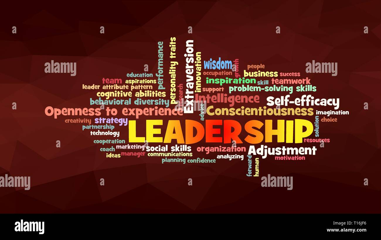 leadership Word Cloud, shows words related to leadership and leader attribute pattern concept, vector - Stock Vector
